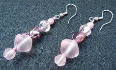 Icy Pink Glass Bead Earrings Wrapped with Rose Colored Wire on Etsy, $14.00