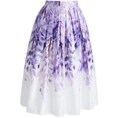 Chicwish Divine Wisteria Printed Midi Skirt (€26) ❤ liked on Polyvore featuring skirts, calf length skirts, purple pleated skirt, midi skirt, purple midi skirt and knee length pleated skirt