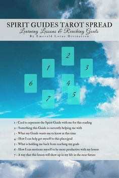 Free Tarot Spread for Communicating, Learning Lessons and Reaching Goals with help from Spirit Guides! Find more free spreads at: emeraldlotus.ca/?utm_content=buffer9dcdb&utm_medium=social&utm_source=pinterest.com&utm_campaign=buffer