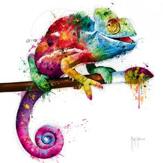 Pop Evolution Giclee Print by Patrice Murciano - Art for study room - Schlafzimmer Cameleon Art, Watercolor Animals, Watercolor Paintings, Watercolour, Murciano Art, Patrice Murciano, Desenho Tattoo, Happy Paintings, Painting & Drawing