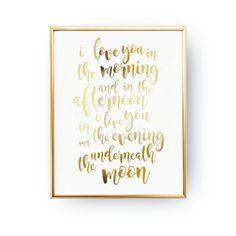 Deko-Objekte - Typografie Plakat,I Love You In The Morning, - ein Designerstück von LovelyDecor bei DaWanda