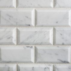 Bianco Carrara White Marble 2 X 4 Polished and Beveled Brick Mosaic Tile  6 X 6 Sample * Learn more at the picture link. (This is an affiliate link). Deep And Wide, Marble Polishing, Kitchen Fixtures, Carrara, White Marble, Mosaic Tiles, Interior And Exterior, Tile Floor, Brick