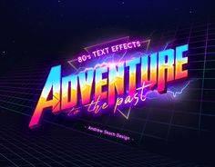 Buy Retro Text Effects by on GraphicRiver. SAVE YOUR MONEY Do you like the retro style of the Do you want to go back to the future or. Retro Graphic Design, 80s Design, Text Design, Graphic Design Posters, Logo Design, Typography Inspiration, Graphic Design Inspiration, Typography Design, Typography Books