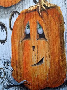 Halloween Pumpkins painted on old Barn Wood with hidden surprises on Etsy, $38.00