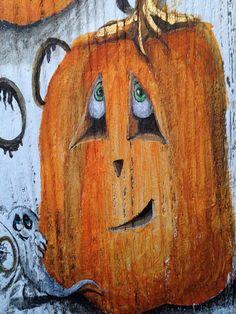 Halloween Pumpkins painted on old Barn Wood with hidden
