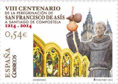 El sello conmemora el VIII Centenario de la peregrinación de San Francisco de Asís a Santiago de Compostela y recuerda el paso del franciscano por España, en 1214, impartiendo el Evangelio.