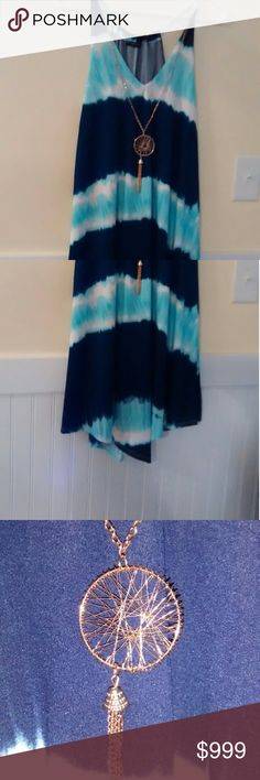 NWT First Love tie dye shirt/dress Navy, turquoise and white tie dye with uneven hem, gold colored Dreamcatcher. A dress on me at 5' comes to my knees. A shirt for you taller girls. First Love Dresses Midi