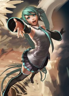 Here s what i have so far for the miku poster, the hand is just a rough paint over of the last hand, I'll correct the angel later: )