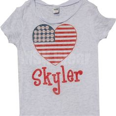 4th of July Flag Personalized Tshirt for Teen Girls. $32.00, via Etsy.