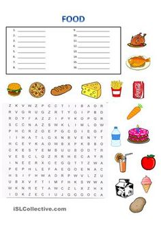 Food Wordsearch. Students write the name of the food then they find them in the wordsearch. After that they can write sentences with I like... / I don´t like... - ESL worksheets