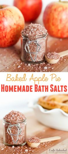 Welcome fall by making these amazing smelling baked apple pie homemade bath salts! They are a perfect way to relax and rejuvenate and are so simple to make!