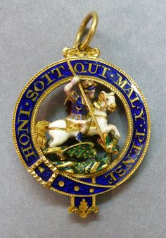 Small round Garter badge in gold and enamel, with group of St George in the round and facing right. Set openly within a gold and blue enamel Garter and motto. Renaissance Jewelry, Ancient Jewelry, Royal Jewelry, Vintage Jewelry, English Coat Of Arms, British Medals, Order Of The Garter, Royal Art, The Royal Collection