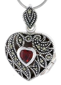 Heirloom Quality Sterling Silver Marcasite / Natural Garnet Heart Locket Heart Locket Necklace, Heart Jewelry, Jewelry Bracelets, Necklaces, Jewelry Box, Marcasite Jewelry, Pendant Jewelry, Levian Chocolate Diamond Ring, Art Nouveau Jewelry