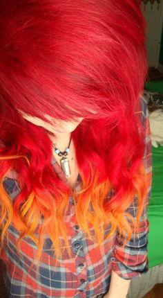 Red orange ombre dip dye hair idea