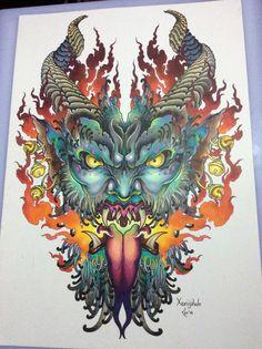 Krampus tattoo art A3, Copic markers