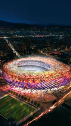 Camp Nou football stadium (High Dynamic Range concept) by night, Barcelona, Spain