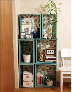 Salvaged drawers = modular bookcase