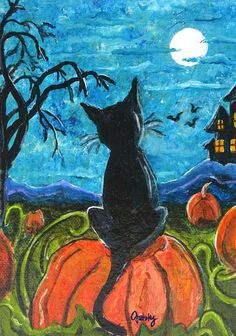 -Cat In Pumpkin Patch by Paintings by Gretzky Halloween Canvas Paintings Halloween Canvas Paintings, Fall Canvas Painting, Halloween Painting, Halloween Drawings, Autumn Painting, Halloween Prints, Autumn Art, Halloween Cat, Canvas Art