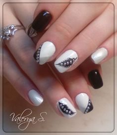 25+ Best White and Black Nails Manicure & Polka Dot Nail 2017 - Reny styles