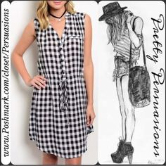 """NWT Plaid Sleeveless Shirt Mini Dress NWT Black & White Checkered Plaid Sleeveless Shirt Dress   Available in sizes: S, M, L  Measurements taken in inches from a size small:  Length: 35"""" Bust: 33""""  This checkered black & white plaid print shirt dress features a button up closure, self tie closure and cap sleeves.   Bundle discounts available  No pp or trades Pretty Persuasions Dresses Mini"""