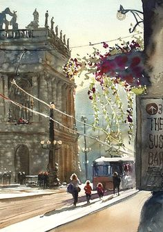 Watercolor Artist Kazuo Kasai (Japan: 1955) - Kazuo Kasai Gallery - Prague in the afternoon 51cm×36cm