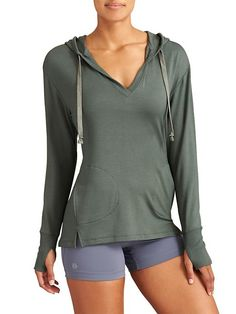 Studio Split Neck Hoodie - The amazingly soft, fleecy, tunic-length sweatshirt perfect for pulling on after yoga (or absolutely whenever).