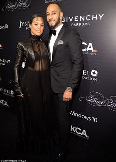 Alicia Keys flashes bra in sexy black outfit at event with Swizz Beatz c01894774
