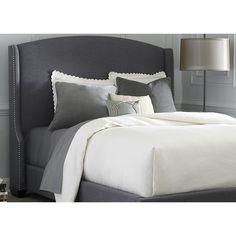 Liberty Dark Gray Linen Wing Shelter Upholstered Bed Set (Dark Gray Linen Wing Shelter Uph. King Bed Set), Grey