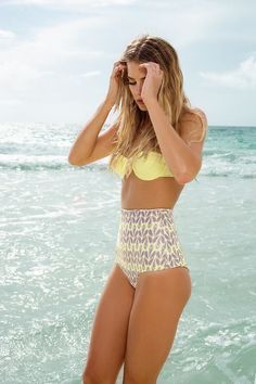 high waisted bathing suit.