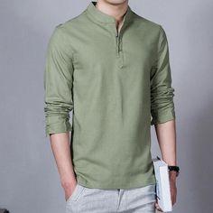 2018 Fashion Long sleeve Men's shirts male casual Linen shirt men Brand Plus size Asian size camisas Camisa Vintage, Estilo Tomboy, Collar Shirts, Men's Shirts, Linen Shirts, Mandarin Collar, Casual Shirts For Men, Men Dress, Dress Shoes