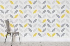 Yellow and Grey Abstract Flower Pattern Wallpaper