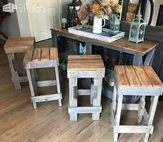 #Indoor, #Outdoor, #PalletBarStools, #PartyDecor, #RecyclingWoodPallets If you need more seating for guests, but would rather save the money for designer beer, build your own Pallet Stringer Bar Stools instead!  Pallet Stringer Bar Stools: First, I found three pallets and separated them down. Next, I used the heavy