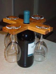 Sostenedor del vino y la botella / carrito por McLeansWoodDesigns