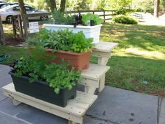 Garden, Earth Boxes With Veggies And Herbs Tiered Garden Box Horizontal  Plastic Planters White Painted