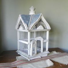 Vintage+shabby+wood+and+metal+birdcage+with+por+jollytimeone,+$75.00