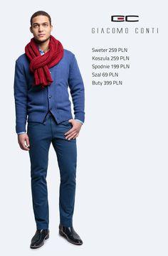 Stylizacja Giacomo Conti: sweter Orazio 13/100 CS, koszula Marco 14/08/17, spodnie Riccardo 14/49 K #giacomoconti