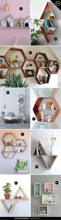 I've been wanting to make some wood shape shelves for the studio and my apartment FOREVER! They are really the perfect way to add a little interest to a wall in an inexpensive way. We showed some re