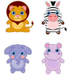 Royalty free clip art of a digital set of an adorable baby lion, zebra, elephant and hippo. This adorable animals stock lion image was designed and digitally rendered by Pushkin. Cartoon Baby Animals, Cute Baby Animals, Baby Illustration, Illustrations, Cute Animal Videos, Cute Animal Pictures, Cute Animal Clipart, Cute Funny Babies, Cute Elephant