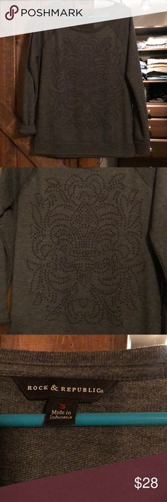 Rock and republic 3/4 sleeve gray boat neck top Rock and republic 3/4 sleeve gray boat neck top. Embellishment on front. Size small  Boat neck. Edgy detailing along hems.   EUC practically new!   From a smoke free home Rock & Republic Tops Blouses