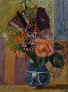 Flowers in a Blue Vase by Vanessa Bell 1951