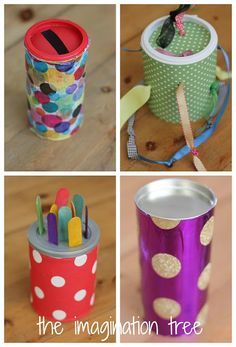 4 simple toys that can be made from canisters: lid drop, tugging tube, craft stick keeper, and rolling drum.