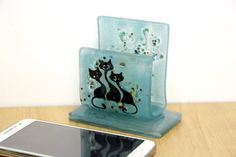 Fused glass Android stand iphone stand iphone dock by virtulyglass