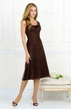 Modest A-line Knee Length Chiffon Thick Straps Zip up Bridesmaid Dress
