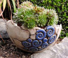 Gartendekoration - Schale Pflanzschale Keramik Blau Frostfest - ein…