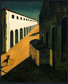 """""""Mystery and Melancholy of a Street"""" Giorgio de Chirico What really is Surrealist art? It's about symbols, dreams, the unconscious, perceiving things differently. De Chirico's use of color and. Italian Painters, Italian Artist, Walton Ford, Avantgarde, Art Series, Art Plastique, Art History, Modern Art, Canvas"""