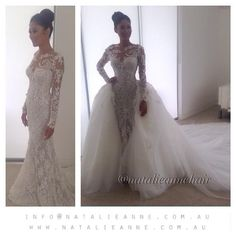 2015 New Natalie Anne Long Sleeve Lace Applique Wedding Dresses with Sheer Tulle Detachable Trailing Floor Length Bridal Gown Online with $201.16/Piece on Huifangzou's Store | DHgate.com