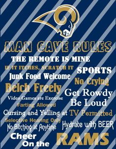 St Louis Rams Man Cave Rules Wall Decor Sign (digital or photo print)