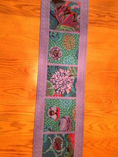 "Kaffe Fassett Fabrics Quilted Table Runner by MarvelsByMarilyn 12.5 x 46"""