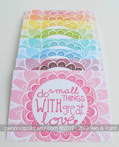 Rainbow Do Small Things with Great Love Set of by penandpaint, $17.50