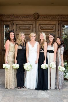 Try mix-matched bridesmaids dresses to create a unique wedding party style #bridesmaids #fashion